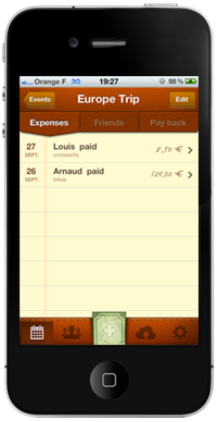 expenses list screenshot